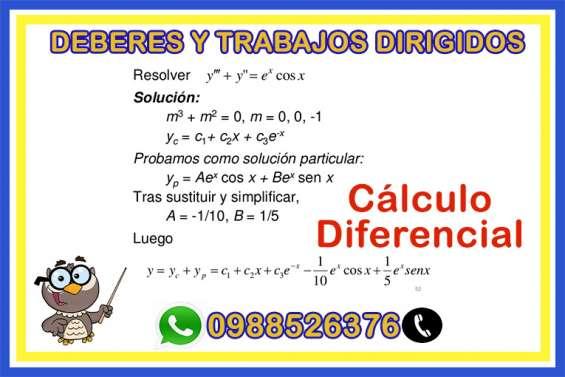 Clase online, trabajos y deberes de calculo diferencial
