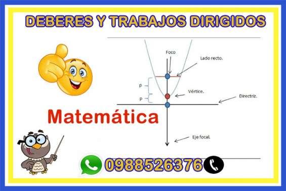 Clase online, trabajos y deberes de matematica