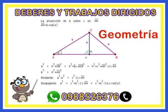 Clase online, trabajos y deberes de geometria