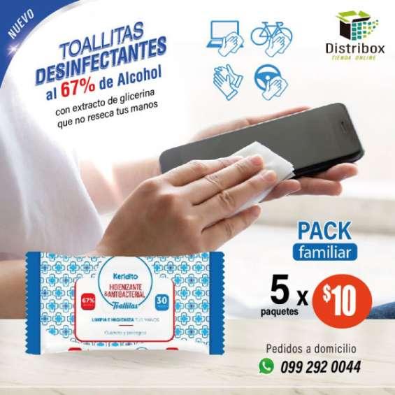Toallitas desinfectantes al 67 de alcohol x 5