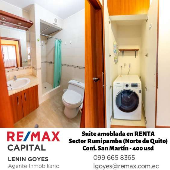 Baño y área de lavandería con lavadora-secadora